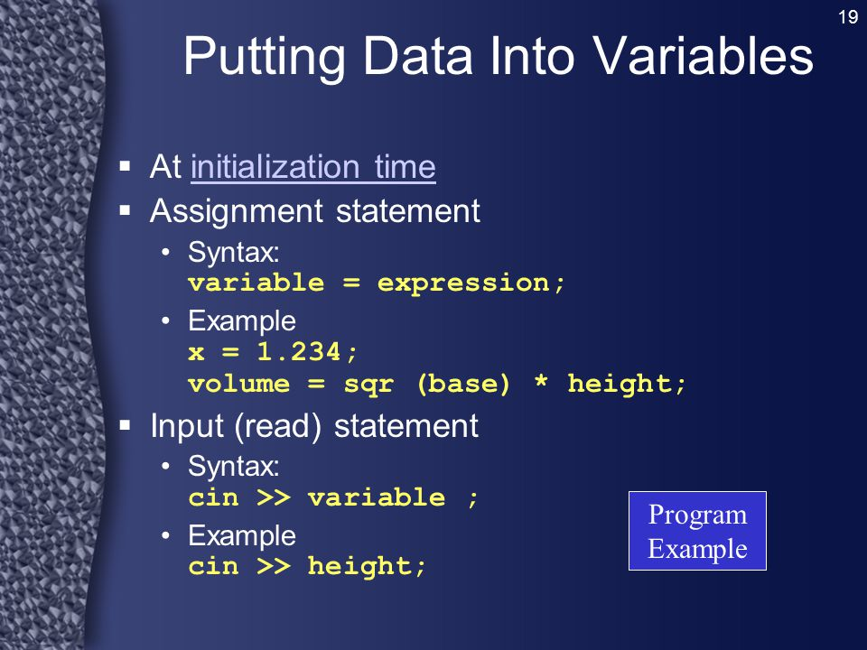 Putting Data Into Variables