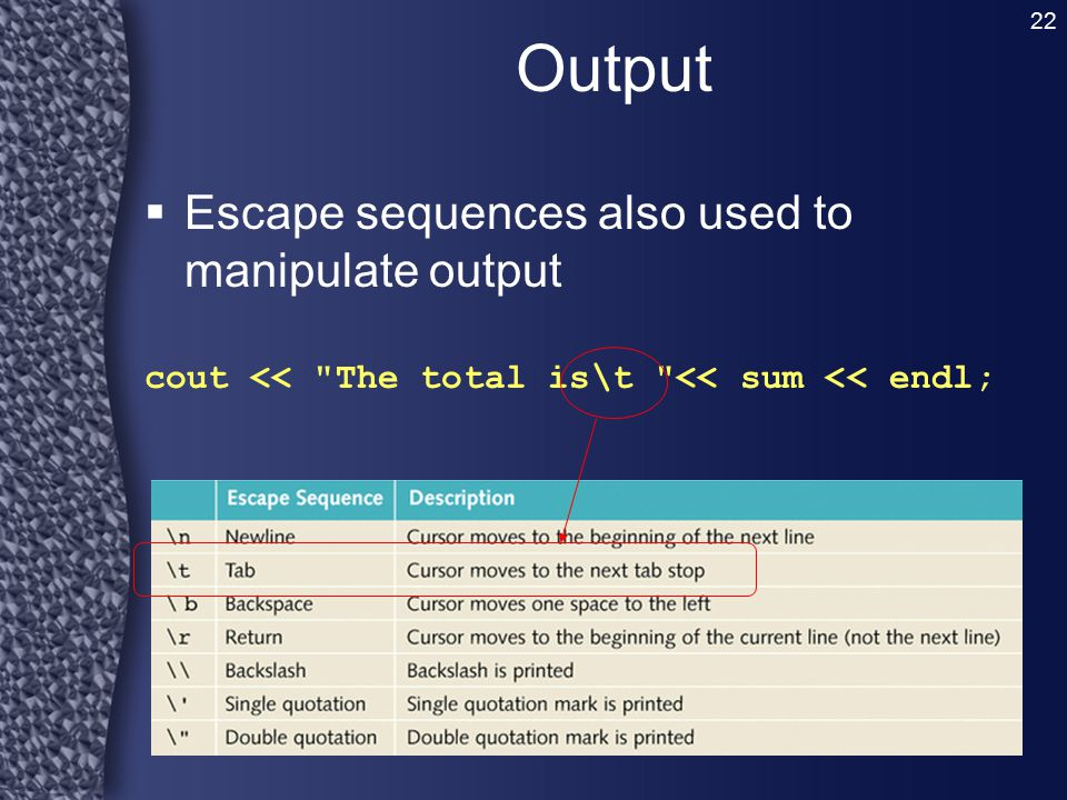 Output Escape sequences also used to manipulate output