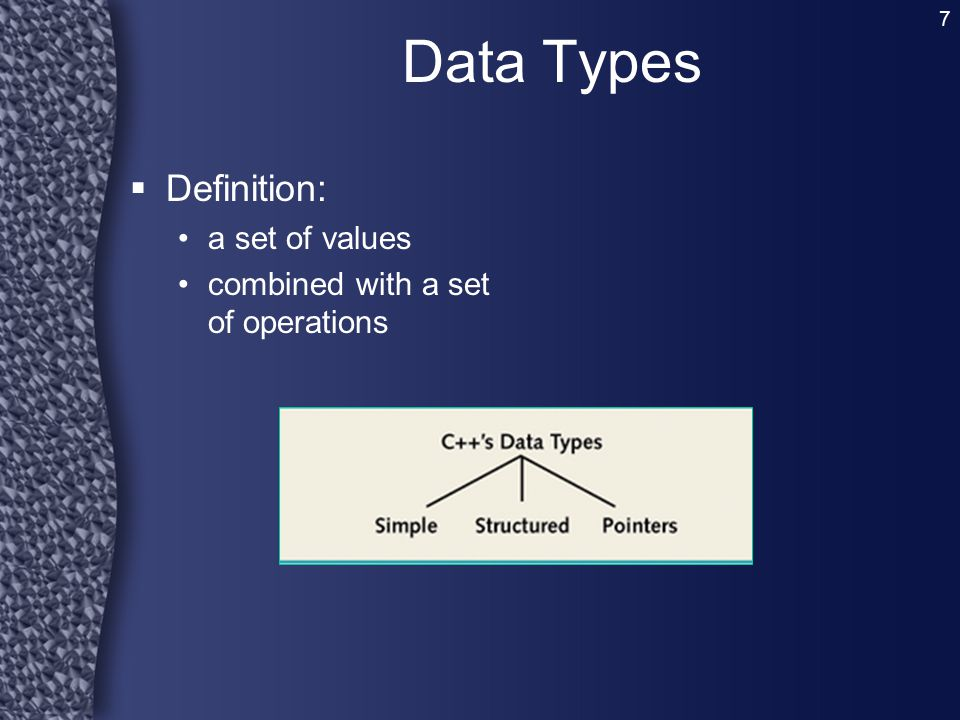 Data Types Definition: a set of values