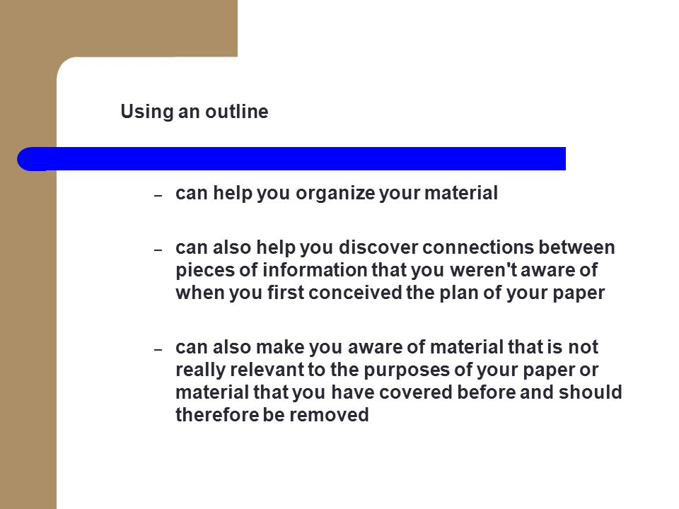 preparing and using outlines to organize your materials Planning and delivering your 4-h project demonstration preparing the delivery of your 4-h project demonstration • organize materials well.