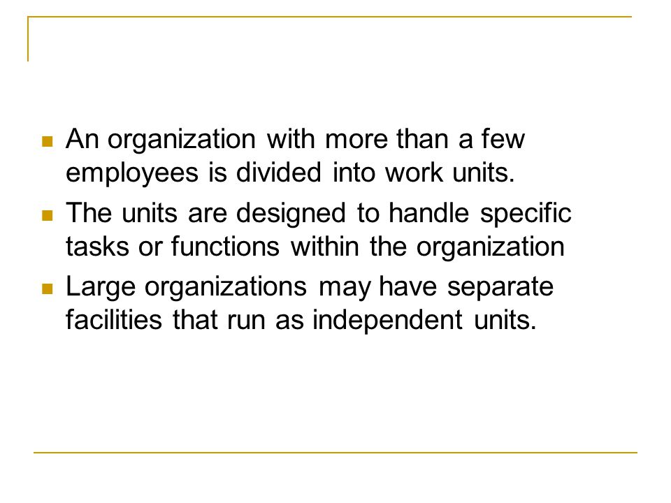 An organization with more than a few employees is divided into work units.