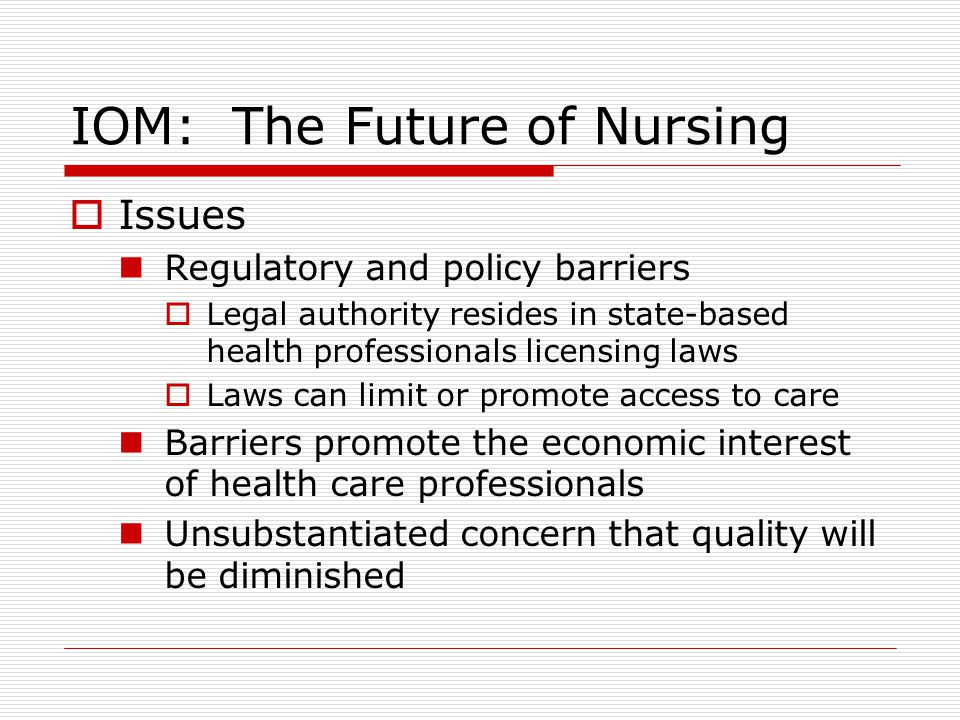 iom future of nursing reflection paper Iom future of nursing: in a reflection of 450-600 words, explain how you see yourself fitting into the following iom future of nursing recommendations: recommendation 4: increase the proportion of nurses with a baccalaureate degree to 80% by 2020.