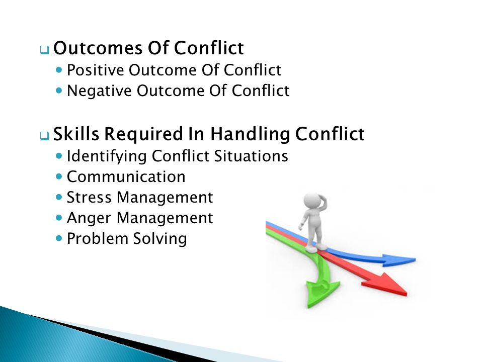 resolving conflicts and possible outcomes When you resolve conflict effectively, team members can develop stronger mutual respect, and a renewed faith in their ability to work together improved by asking each team member to help generate solutions, you ensure that everyone feels included and that they're more likely to be satisfied with the outcome.
