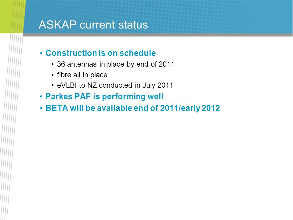 ASKAP current status Construction is on schedule