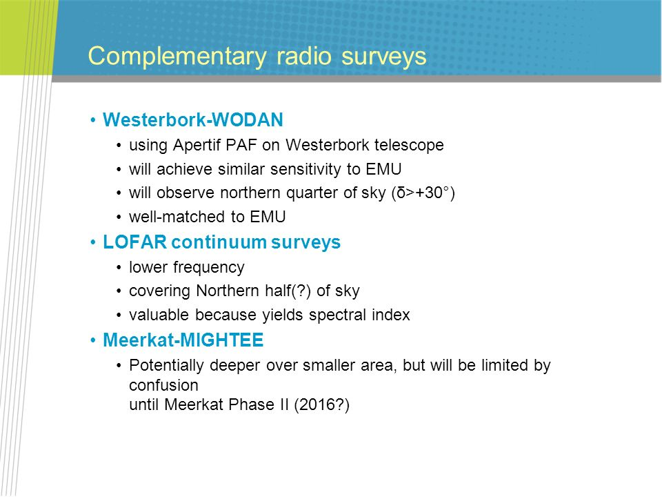 Complementary radio surveys