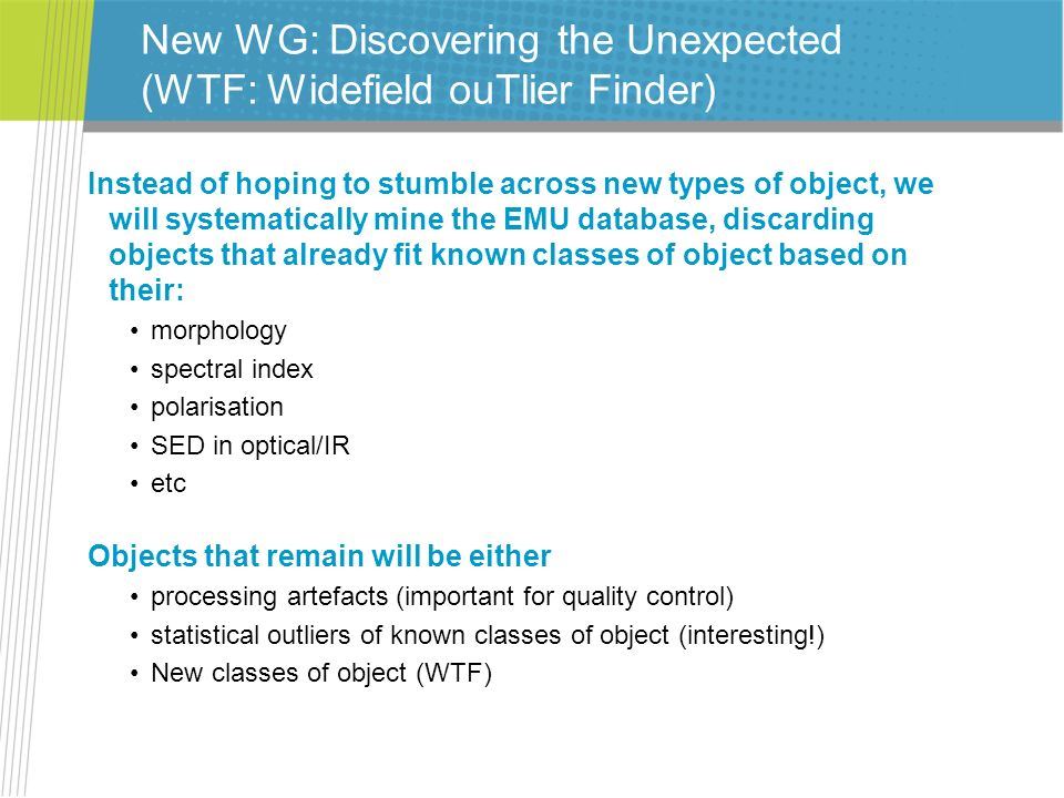 New WG: Discovering the Unexpected (WTF: Widefield ouTlier Finder)