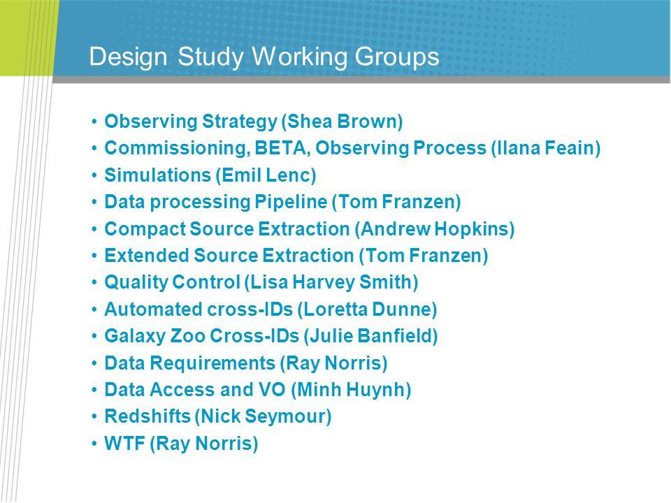 Design Study Working Groups