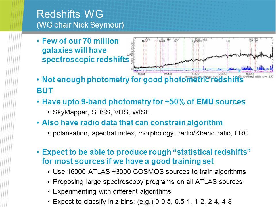 Redshifts WG (WG chair Nick Seymour)