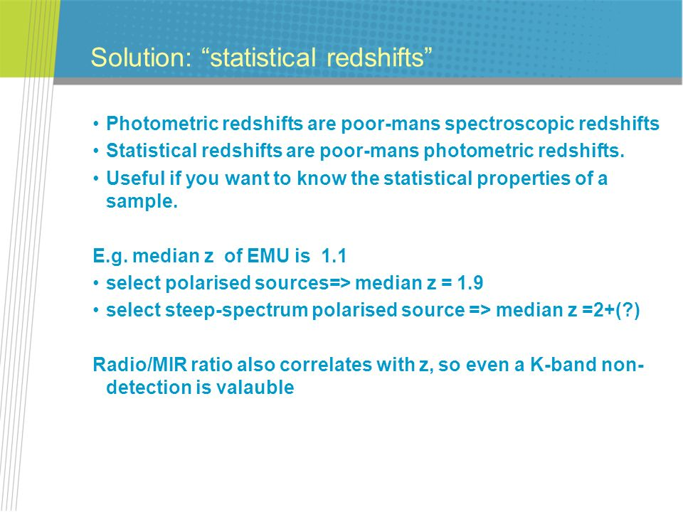 Solution: statistical redshifts