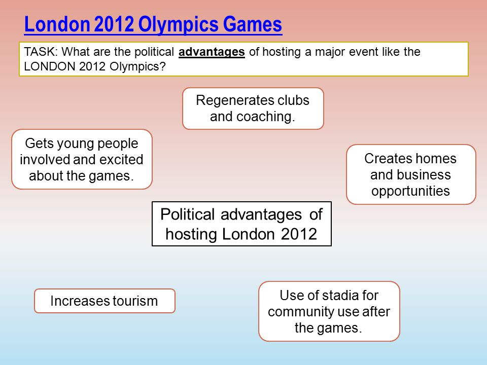 disadvantages of olympic games Hosting the olympic games should bring more advantages than disadvantages: advantages  prestige from hosting the games attracts trade and tourism the facilities which are built for use during the games can be used for the cities population for years to come.