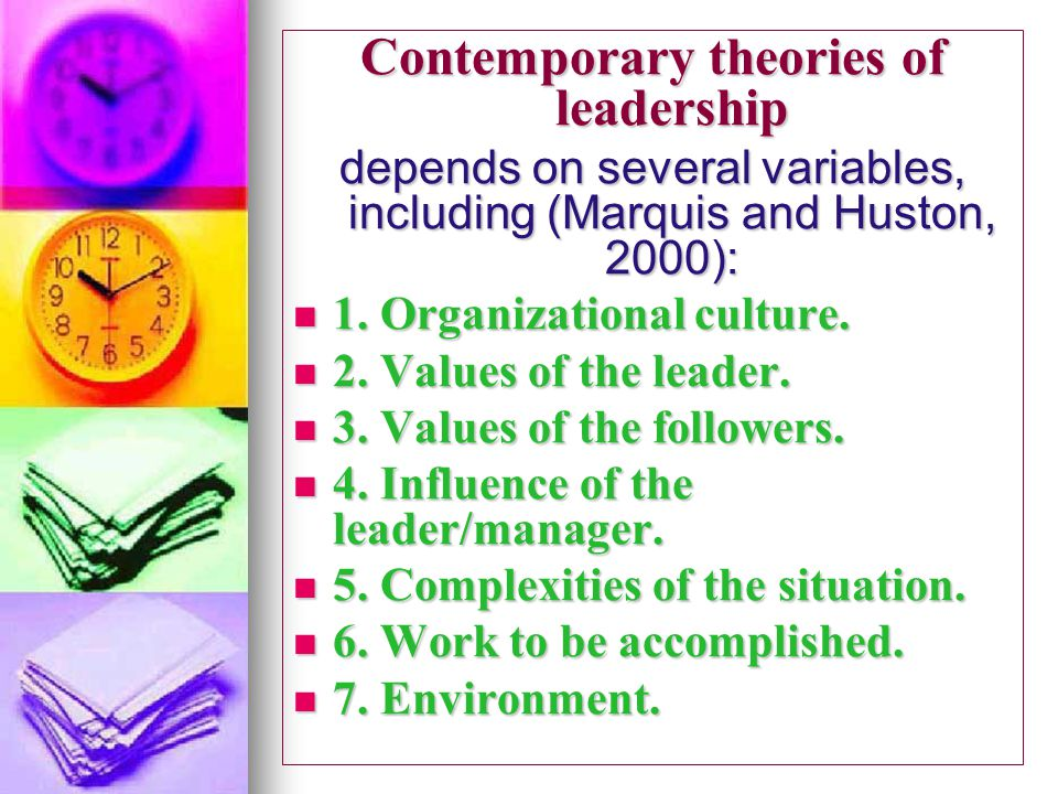 contemporary leadership theories Contemporary theories of management the continuing effort to identify the best leadership or management style might now conclude that the best style depends on.