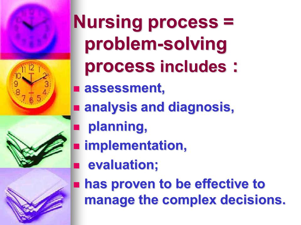 Nursing process = problem-solving process includes :