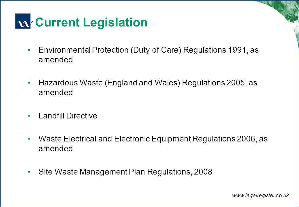 the current legislation and codes of Overview of epa's law and regulatory information, including complying with and enforcing environmental regulations.