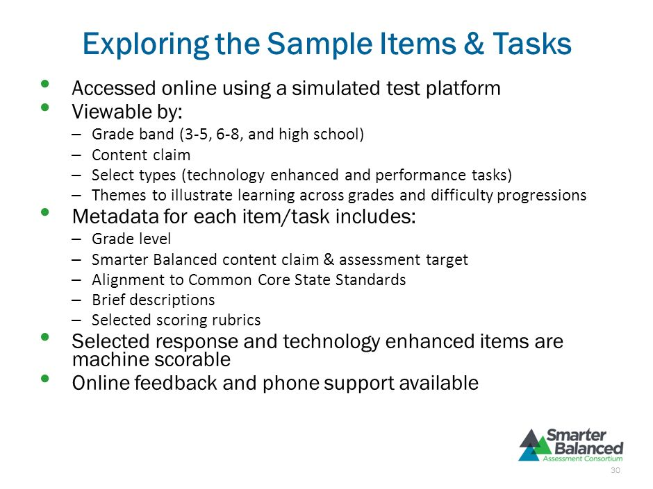 Exploring the Sample Items & Tasks