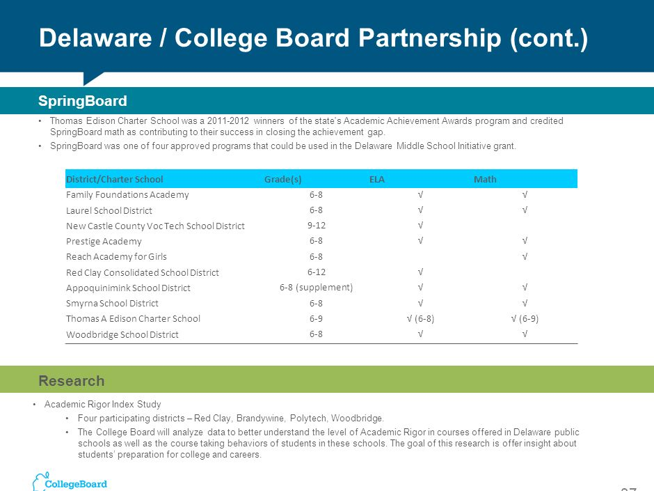 Delaware / College Board Partnership (cont.)