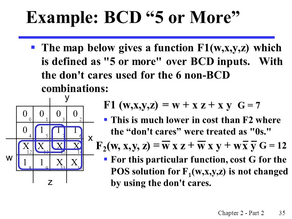 Example: BCD 5 or More