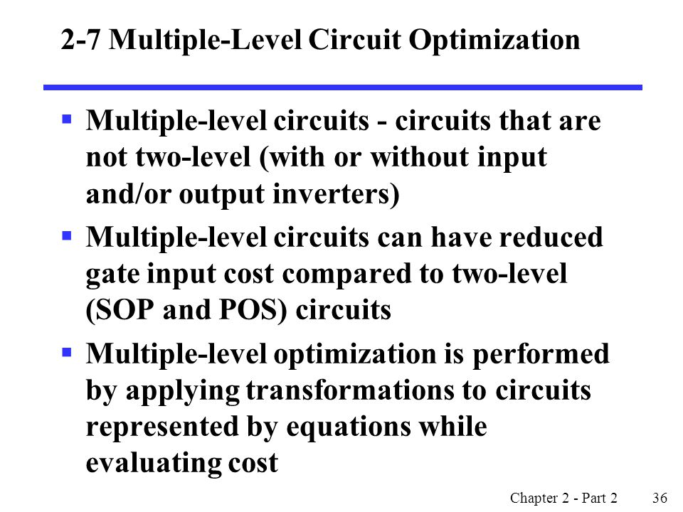 2-7 Multiple-Level Circuit Optimization