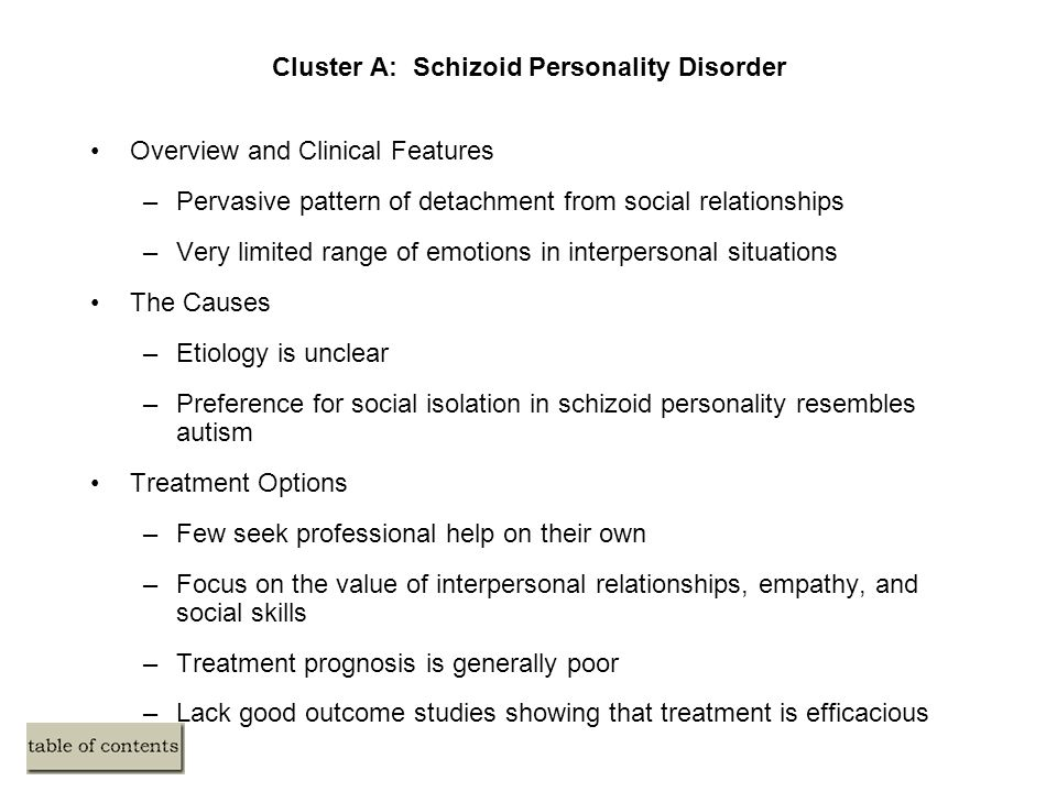 schizoid personality disorder treatment guidelines