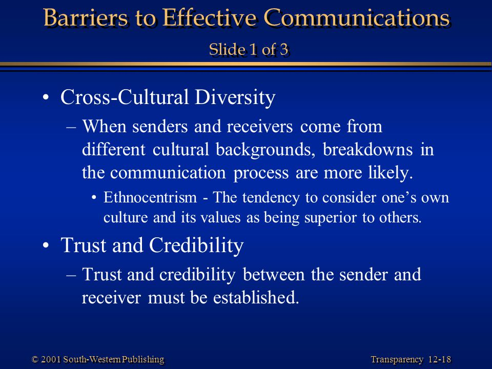 Barriers to Effective Communications Slide 1 of 3