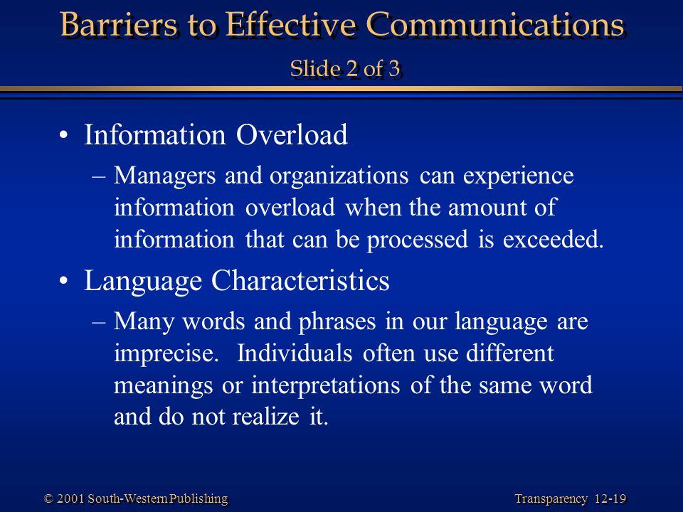 Barriers to Effective Communications Slide 2 of 3