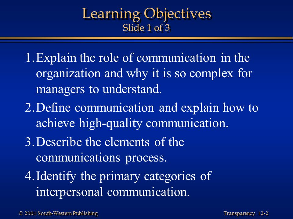 Learning Objectives Slide 1 of 3