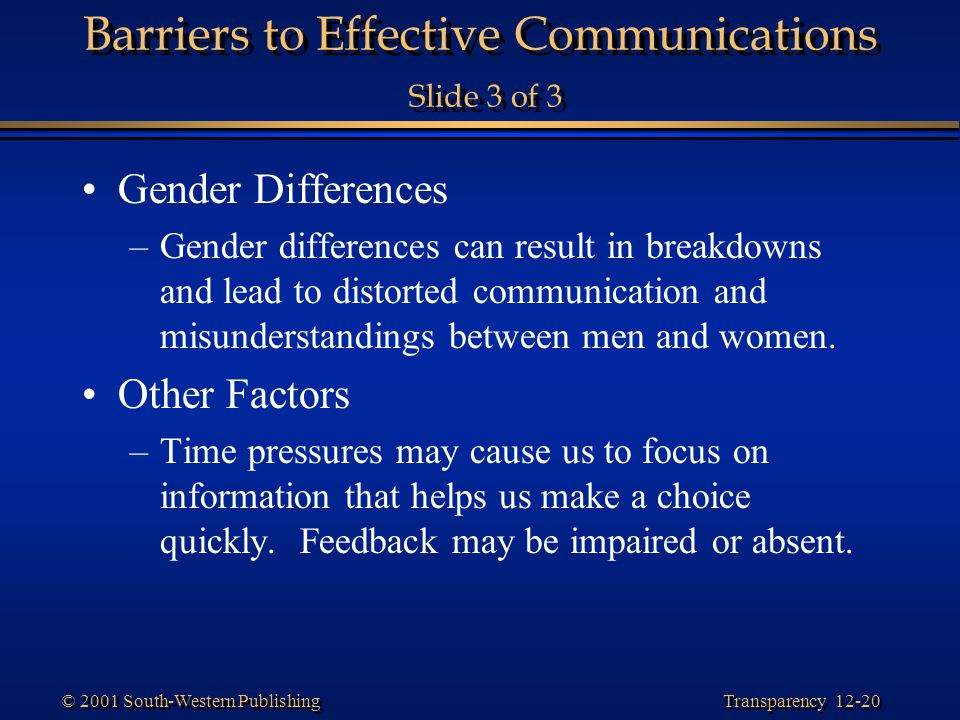 Barriers to Effective Communications Slide 3 of 3