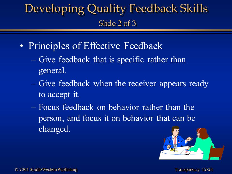 Developing Quality Feedback Skills Slide 2 of 3