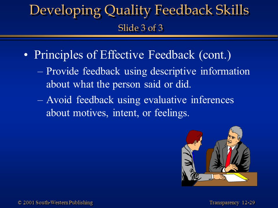 Developing Quality Feedback Skills Slide 3 of 3