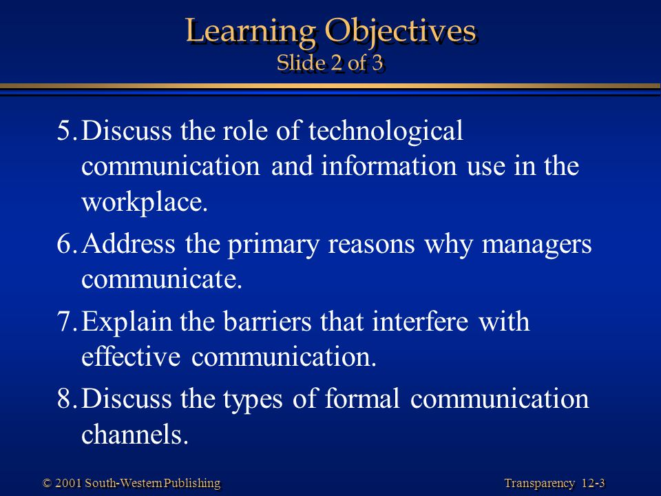 Learning Objectives Slide 2 of 3
