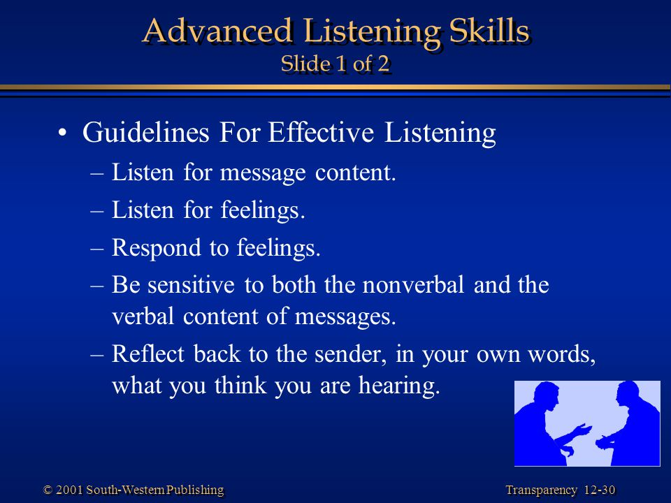 Advanced Listening Skills Slide 1 of 2