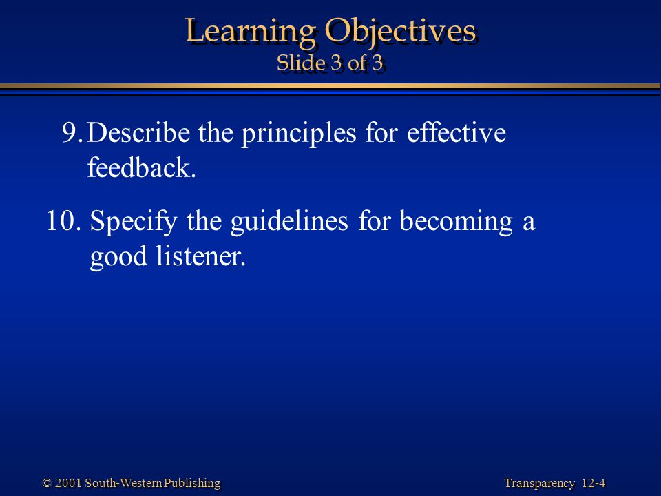 Learning Objectives Slide 3 of 3