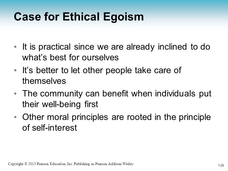 Case for Ethical Egoism