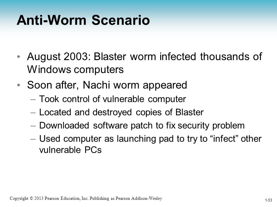 Anti-Worm Scenario August 2003: Blaster worm infected thousands of Windows computers. Soon after, Nachi worm appeared.