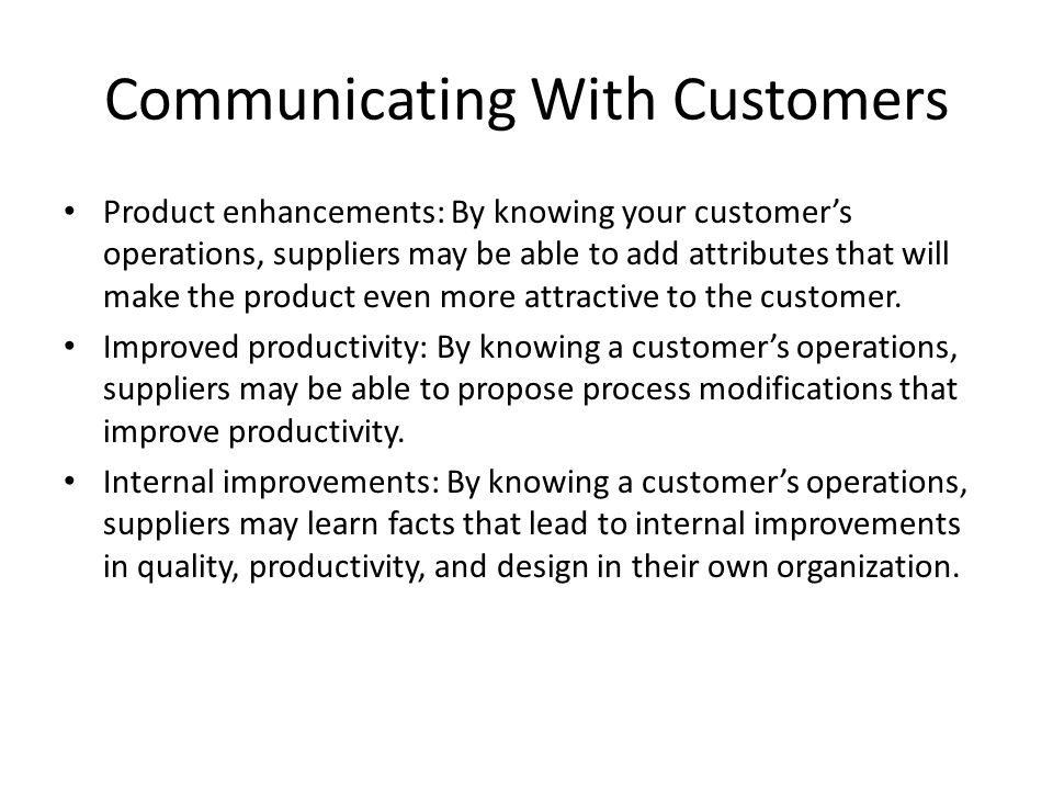 Communications for internal customers