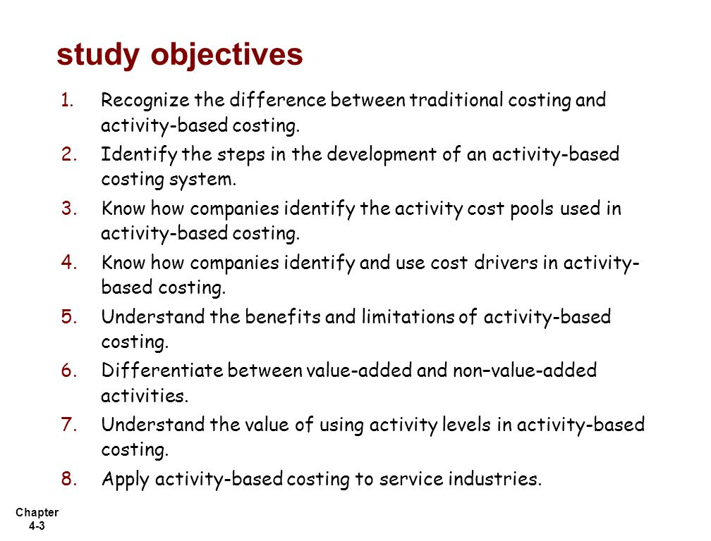 """the use of activity based costing Activity-based costing (abc) lets you better allocate overhead costs and, as an added bonus, also often gives you unique insights into what """"drives"""" your overhead costs."""