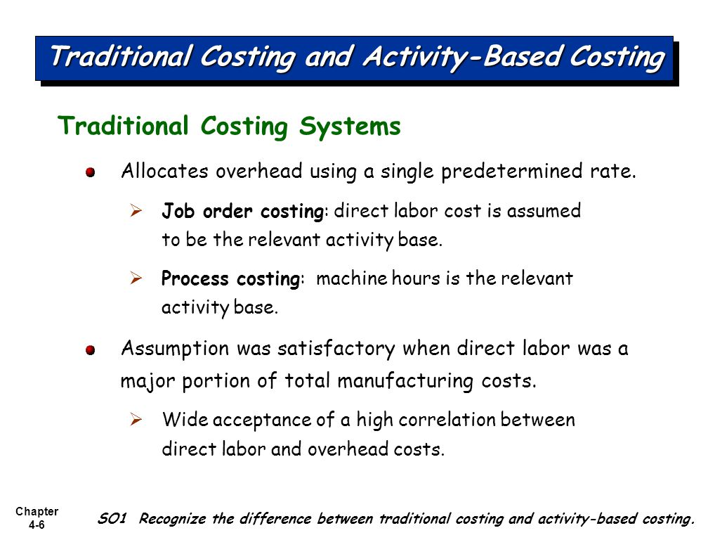 process based costing Activity based costing - done with a simplified design particularly if your company is below $100 million can work i prefer a direct costing system focused on.