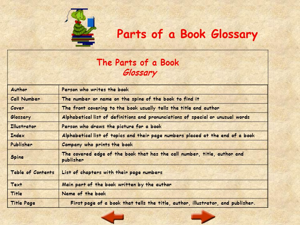 is the glossary in the front of the book