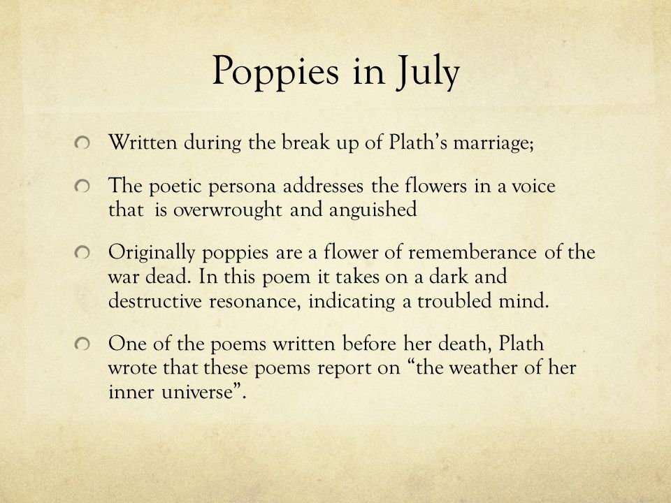 poppies in july sylvia plath 1 quote have been tagged as poppies-in-july: sylvia plath: 'little poppies, little hell flames, do you do no harmyou flicker i cannot touch you i.