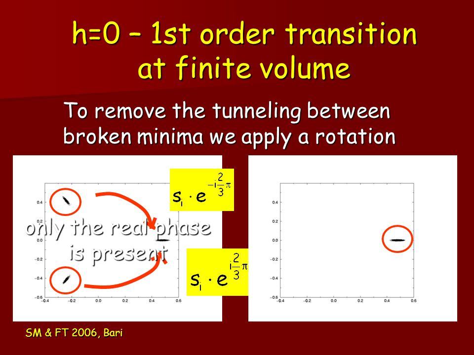 h=0 – 1st order transition at finite volume
