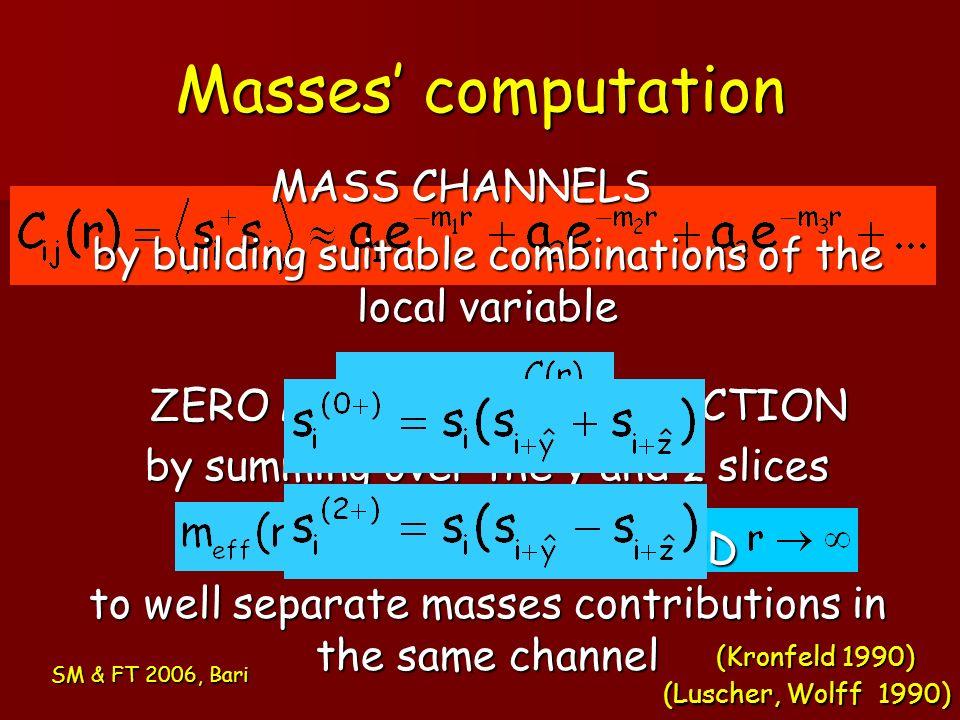 Masses' computation MASS CHANNELS