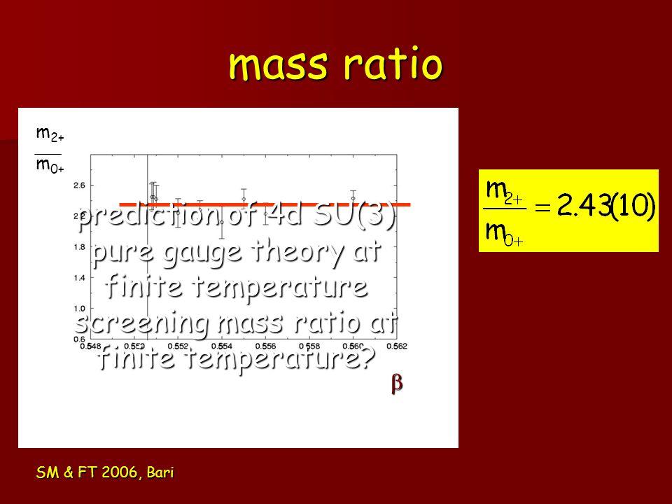 mass ratio m2+ m0+ prediction of 4d SU(3) pure gauge theory at finite temperature screening mass ratio at finite temperature