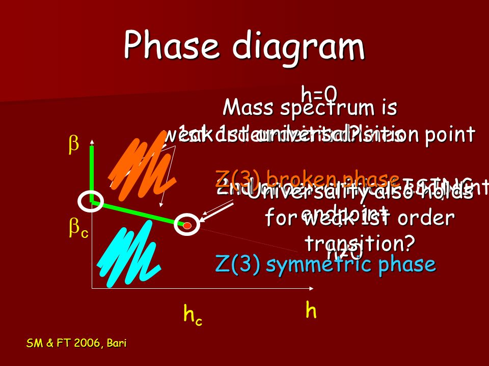Phase diagram h=0 weak 1st order transition point