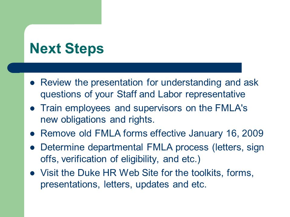 FMLA & Military Family Leave Updates ppt download