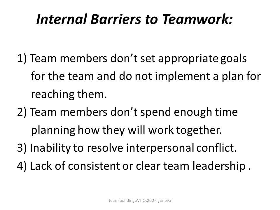 Internal Barriers to Teamwork: