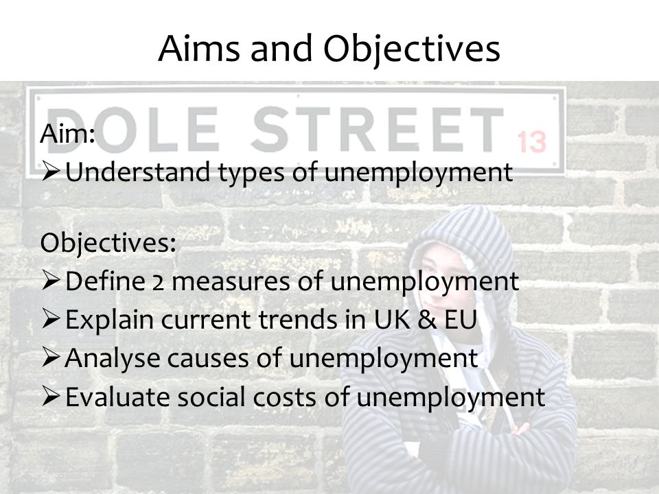 Aims and Objectives Aim: Understand types of unemployment Objectives: