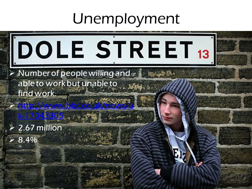 Unemployment Number of people willing and able to work but unable to find work. http://www.bbc.co.uk/news/uk-17043305.