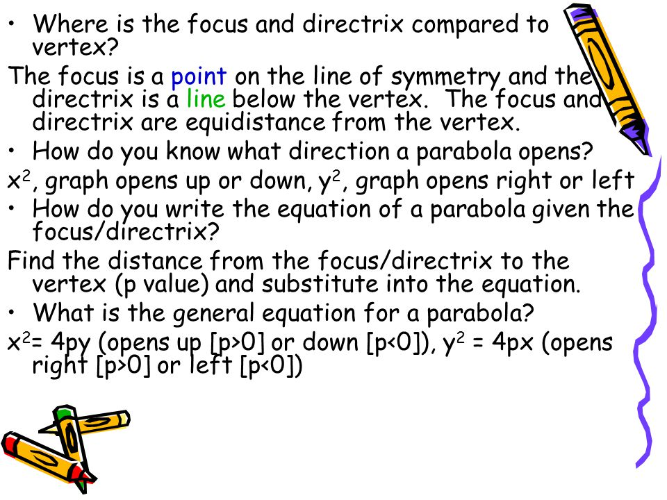 Where is the focus and directrix compared to vertex