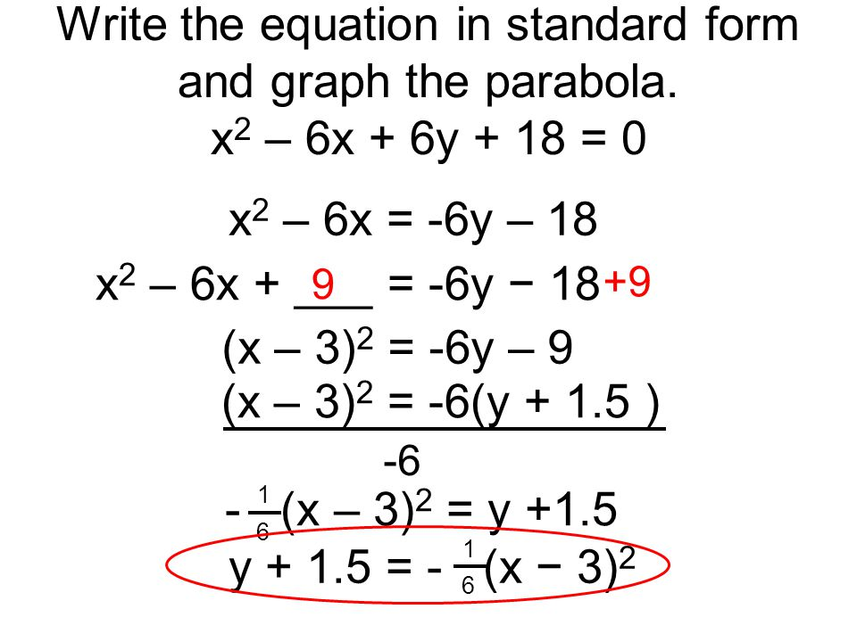 write the equation in standard form Linear equations can be written in many forms discover how to use two coordinate points to solve for a line's slope and write an equation in slope-intercept form with some algebraic manipulation, you will learn how to write a linear equation from slope-intercept form into standard form all from.