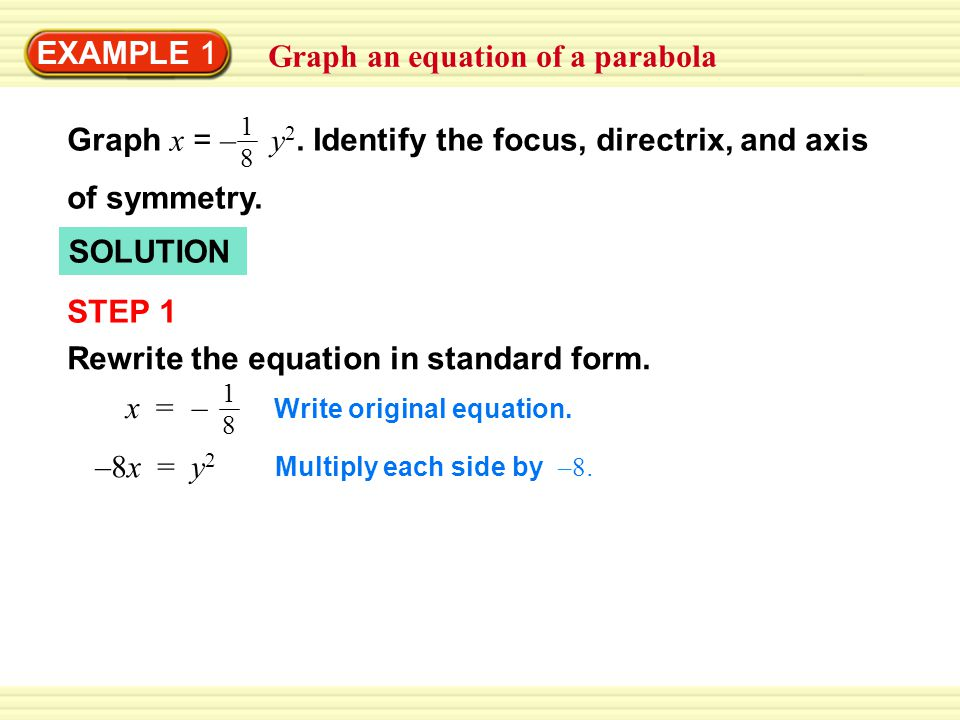 Graph An Equation Of A Parabola Ppt Video Online Download