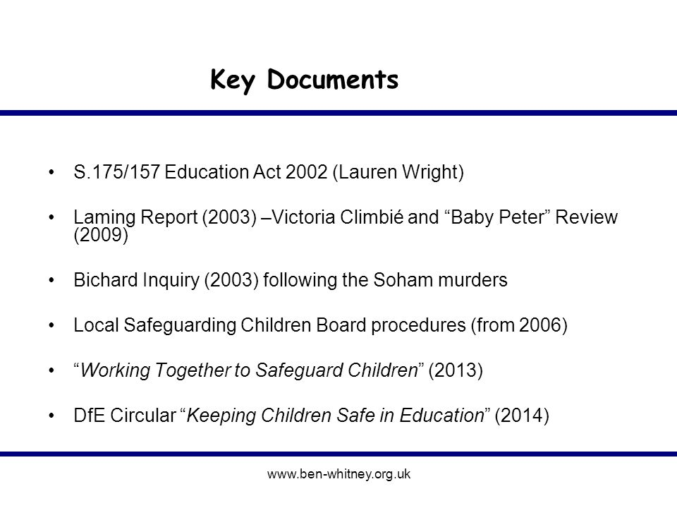 Information held under Section 142 of the Education Act 2002